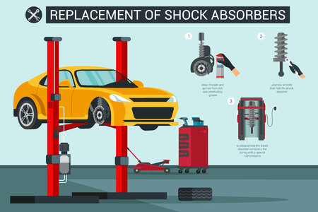 Flat Banner Replacement of Shock Absorbers in Car. Vector Illustration. Clean Threads and Splines from Dirt and Use Penetrating Grease. Unscrew Bolts that Hold Shock Absorber Disassemble.  イラスト・ベクター素材