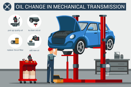 Oil Change in Mechanical Transmission. Pick Up Quality Oil. Replace Oil Filter Add New Oil Drain Old Oil. Blue Car Lifted on Lift Car Mechanic Makes Car Repairs Vector Flat Illustration.
