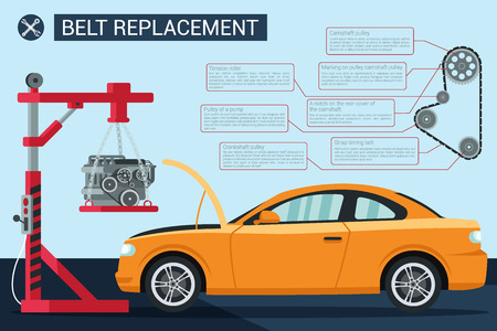 Belt Replacement Vector Flat Illustration Yellow New Car with Open Hood Motor. Crane Pull Out Automobile Motor. Replacement Parts Maintenance. Gears Rotate Minor and Repair Service.  イラスト・ベクター素材
