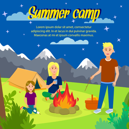 Summer Camp Vector Square Banner with Copyspace. Travel Agency Poster. Outdoor Activity on Nature. Cartoon Characters Sitting around Bonfire. Picnic in Forest at Night. Tent Flat Illustration Ilustração