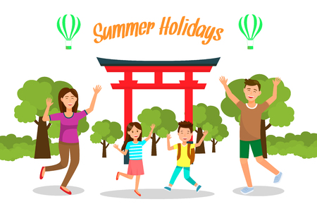 Summer Holidays in Japan Travel Vector Postcard. Family Vacation in Asia Flat Drawing. Tourist Attractions Banner with Text. Parents with Children Cartoon Characters. World Famous Landmark