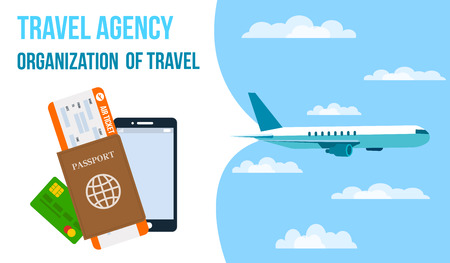 Airlines, Travel Agency Horizontal Vector Banner. Air Ticket, Passport, Smartphone Flat Drawing. Travel Voucher. Airplane Flying in Sky. Tour Operator Poster, Flyer with Text. Vacation Organization