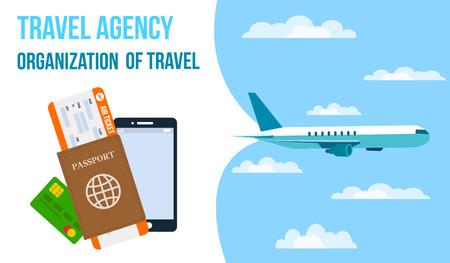 Fluggesellschaften, Reisebüro-horizontale Vektor-Banner. Flugticket, Reisepass, Smartphone-Flachzeichnung. Reisegutschein. Flugzeug, das in den Himmel fliegt. Reiseveranstalter-Poster, Flyer mit Text. Urlaubsorganisation