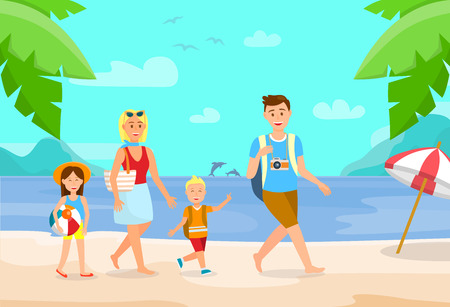 Summer Vacation on Beach Cartoon Illustration. Family on Holiday Flat Drawing. Holidaymakers on Sea Resort. Parents with Children Vector Characters. Exotic Journey. Tropical Island. Outdoor Activities Foto de archivo - 124976154