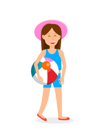 Young Girl with Beach Ball Vector Illustration. Cartoon Character in Swimsuit. Teenager in Pink Hat Flat Drawing. Resort, Vacation. Holidaymaker, Tourist Isolated Clipart. Summer Activities on Beach