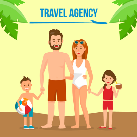 Family on Summer Vacation Social Media Banner. Travel Agency Vector Poster with Text Space. Holidaymakers Cartoon Characters in Swimsuits. Mother, Father with Children on Holidays. Palm Leaf