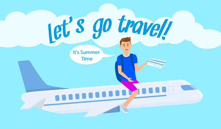 International Airlines Vector Banner Template. Travel Agency Vector Flyer with Text. Student Exchange Program. Teenager with Boarding Pass, Ticket. Cartoon Character Sitting on Plane Flat Drawing