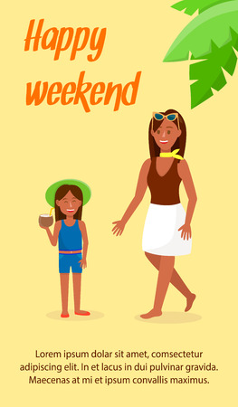 Travel Agency Color Vector Flyer with Text Space. Happy Weekend Lettering. Tour Operator Flat Square Banner Template. Tanned Female Cartoon Characters. Girl with Coconut Cocktail. Palm Leaf