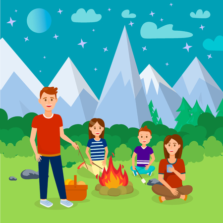 Summer Camping in Mountains Cartoon Illustration. Vacation, Holidays with Family. Parents, Children Vector Characters. Picnic in Forest at Night Flat Drawing. Moon, Stars in Sky. Outdoor Activity