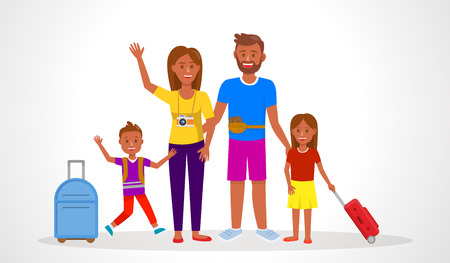 Family Going on Summer Holiday Vector Illustration. Parents with Children Waving Hi Flat Drawing. Dark Skin Tourists with Suitcases and Camera. Mother, Father, Son, Daughter Cartoon Characters