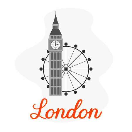 London Tourist Attractions Vector Illustration. Great Britain Architectural Landmark Flat Drawing. Big Ben, London Eye. Sightseeing tour, Europe trip. Travel Poster, Banner isolated design element