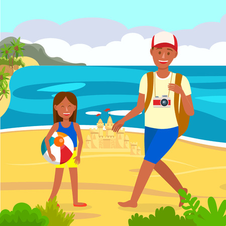 Summer Holiday on Beach Vector Color Illustration. Family on Vacation. Father, Daughter Cartoon Characters. Tropical Island Flat Drawing. Girl with Sand Castle. Tourist with Camera 向量圖像