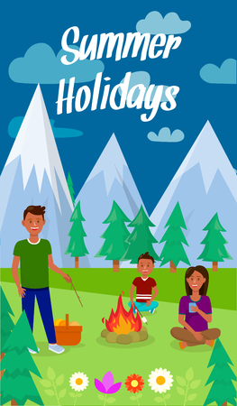 Summer Holidays Lettering Vector Vertical Flyer. Camping with Family Flat Illustration. Woman sitting on Grass, drinking Coffee. Mother, Father and Son Cartoon Characters. Evening in Forest