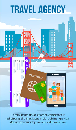 San Francisco Cityscape Flat Flyer with Text Space. Travel Agency Banner. Air Ticket, Passport Vector Illustration. Golden Gate Bridge Landmark Cartoon Poster. Family Photo on Smartphone Screen Ilustração