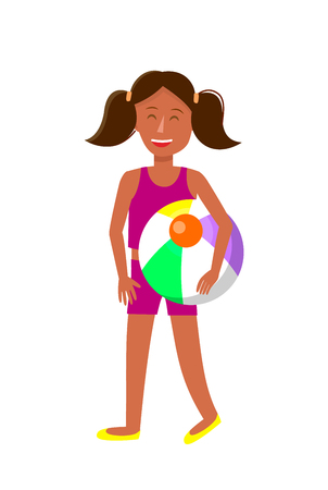 Young Tanned Girl with Pigtails Cartoon Character. Dark Skin Female Teenager in Summer Clothes. Child, Kid with Beach Ball Vector Illustration. Resort, Vacation. Holidaymaker, Tourist Flat Clipart