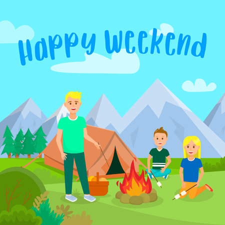 Happy Weekend Lettering Flat Poster, Postcard. Camping with Children Vector Illustration. Summer Holidays with Family. Father with Son and Daughter Cartoon Characters. Tent in Mountains 向量圖像