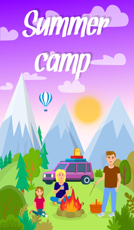 Summer Camping in Forest Vector Flyer with Text. Holiday, Vacation. Mother and Father with Daughter Cartoon Characters. Sunset in Mountains. Outdoor Activities, Picnic on Nature Flat Drawing Illustration