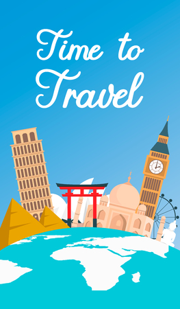 World Tour, Vacation Color Flat Flyer, Banner. Time to Travel Calligraphy. Famous Landmarks on Globe Vector Drawing. Planet Earth with Continents. Big Ben, Taj Mahal, Pyramids Tourist Attractions