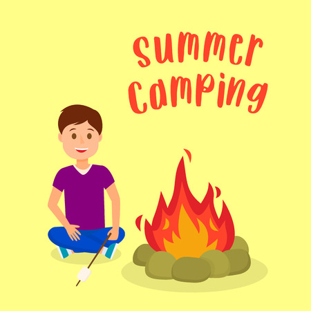 Boy Roasting Marshmallow on Bonfire Illustration. Summer Camping Poster, Postcard with Lettering, Text. Kids Camp Flat Drawing. Male Cartoon Character. Schoolkid, Scout Vector Square Banner