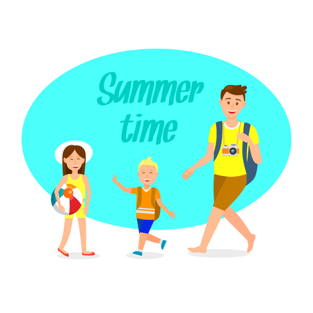 Holidaymakers Flat Travel Postcard with Lettering. Summer Time Text. Camping, Recreation Vector Clipart with Lettering. Parent, Children Cartoon Characters. Tourist with Backpack. Girl with Beach Ball