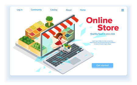 Small Woman Leaves Internet Shop. Web Site Landing Page Concept. Broken Screen. Online Store in Laptop. Buy Healthy Food Online. Customer with Grocery Cart. E-Commerce. Isometric Vector EPS 10.  イラスト・ベクター素材