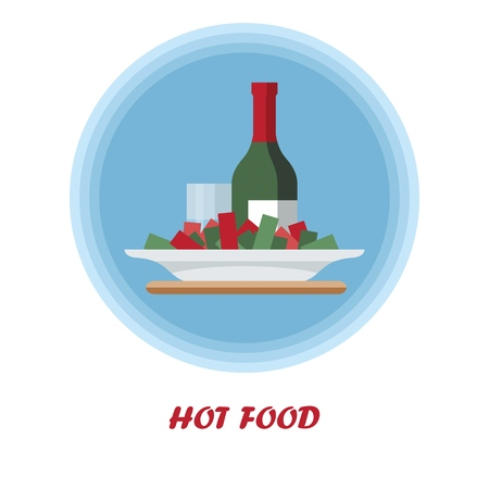 Hot food flat vector illustration. First course. Catering serving. Dinner, supper food dish. Meal preparation. Wine bottle with plate of salad. Restaurant, cafe, bistro menu cartoon isolated clipart Vectores