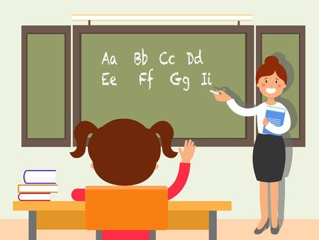 School english language lesson flat illustration. Schoolgirl putting up, raising hand for answer. Teacher standing near blackboard cartoon character. Classroom interior. Elementary school education