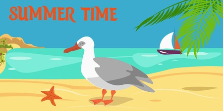 Summertime cartoon color illustration. Seagull on beach. Palm, sea, sand, sailboat composition. Shore, coast, seascape. Island paradise resort. Summer vacation vector flat banner with lettering