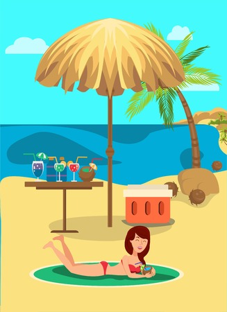Beach rest flat vector color illustration. Sea resort. Hotel outdoor activities. Girl relax on sand under beach umbrella and drink cocktails. Holidaymaker, tourist cartoon character. Summer vacation
