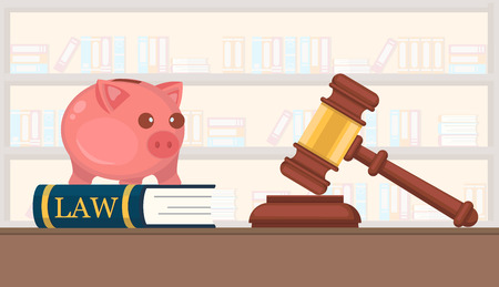 Available Services Law Firm Company Vector Flat. Firm is Engaged in Preparation in Court Cases Building. Book with Piggy Bank Helps Young Professionals. Gavel Court Judge Jury Room.