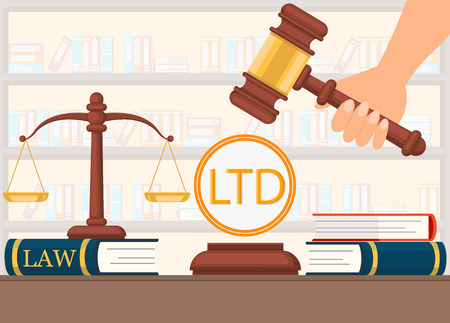 Flat Vector Illustration Legal Support Before Making Decision. Scales Stand on Book Law. Hand Holds Judges Gavel and Ready to Make Decision. Folders with Documents and Books at Judgeship.