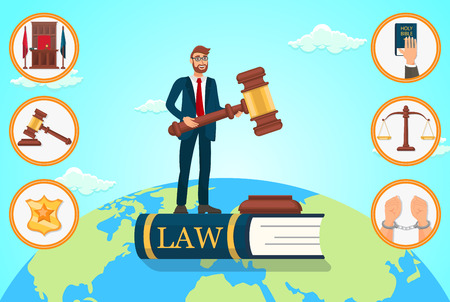 Vector Flat Illustration Lawyer Relies on Law. Man in Business Suit is Standing on Book With an Inscription Law in Hands Holding Judges Gavel. Judge Place Badge Police Officer Oath on Bible Scales. Çizim