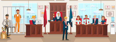 Horizontal Flat Vector Illustration Jury Trial. Lawyer in Blue Suit Against Background Jury Trial Shows Document Proving Convictions Innocence. Judge in Gown Raised Hand with Hammer. Stock Illustratie