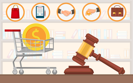Law Firm Payment for Lawyer Services Purchase Vector Flat. Goods Drafting Contract with Seal and Signature Shaking Hands Brown Briefcase Hammer of Court Session Preparation Case Review Legal Issues.