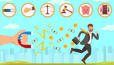 Flat Vector Illustration Legal Assistance in Dealing with Debtors. Hand Holds Magnet and Attracts Paper Bills and Coins with Dollar Symbol. Man with Briefcase Tries to Escape from Problem Solving. Çizim
