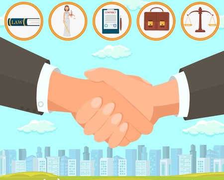 Flat Vector Illustration Deal and Drawing Up Contract. Foreground is Large Handshake Two Men in Business Suits Against Background Big City and Blue Sky. Top Book Woman Law with Scales.