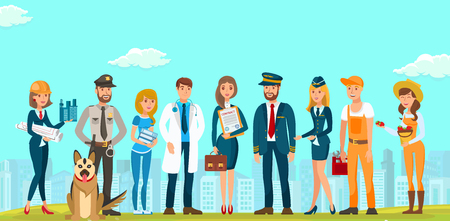 Vector Flat People Men and Women Different Specialties. Builders Designers Guard with Dog Young Lawyer Doctor Woman in Blue Dress with Contract Briefcase. Documents Pilot Flight Attendant Plumber . 矢量图像
