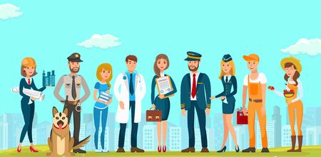 Vector plat gens hommes et femmes différentes spécialités. Builders Designers Guard avec chien jeune avocat docteur femme en robe bleue avec porte-documents de contrat. Documents Pilote Hôtesse de l'air Plombier . Vecteurs