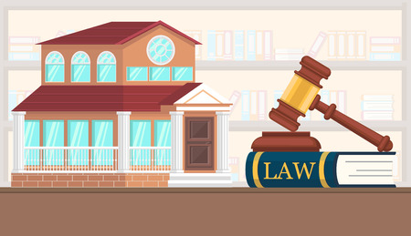 Flat Vector Illustration Driven Property Valuation. Table There is Book with Law. Consideration in Court Case on Division Joint Property in Background House. Adoption Judgment on House. Illustration