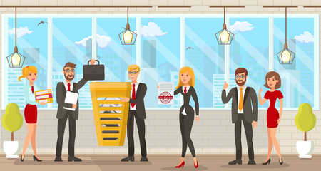 Flat Vector Illustration Coworking Space for Lawyers. Young Happy Men and Women in Modern Business Suits in Workplace Put Briefcases and Document Folders in Each Other in Common Yellow Basket.