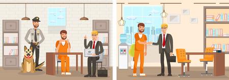 Flaches Vektor-Illustrations-System arbeitet Anwaltskanzlei. Eingesperrter Zellenmann in einem orangefarbenen Overall sitzt am Tisch in Handschellen Anwalt mit Laptop erklärt rechts. Gefangener ist freigelassen und dankt Anwalt. Vektorgrafik