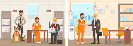 Flat Vector Illustration System Works Law Firm. Confinement Cell Man in an Orange Jumpsuit is Sitting at Table in Handcuffs Lawyer with Laptop Explains Right. Prisoner is Released and Thanks Lawyer. Ilustração