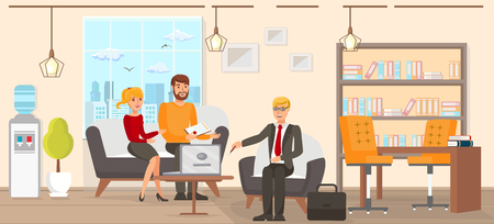 Flat Vector Illustration Legal Assistance Conclusion Marriage Contract. Young Man and Woman in Casual Clothes are Sitting on Couch Law Office. Lawyer Presents Company Services on Laptop.