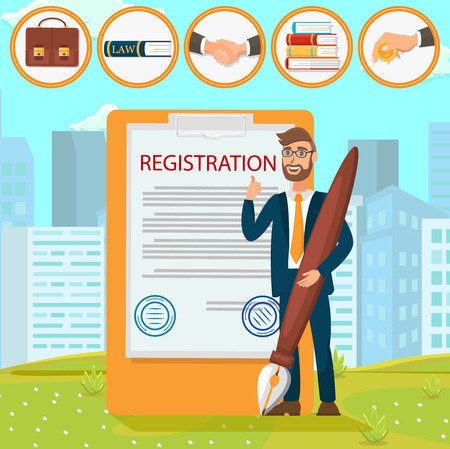 Vector Flat Young Man with Glasses Fills in Registration Documents Puts Signature Stamp. Law Firm Office Helps Draw Up Deal Shake Hands. Transfer Necessary Information Stack Books Pay Interest.
