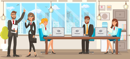 Flat Vector Illustration Team Discussion Lawyers. Young Happy Girls and Men in Business Suits in Office at Workspace Discuss Business Issues. They are Corrected in Documents on Laptops. Çizim
