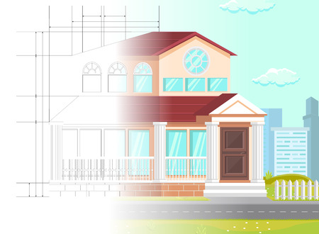 Flat Vector Illustration Law Office Planning. In Foreground is Two Story Building and Road. Unfinished Building Lawyers Office on Background Linear Drawing and High Rise Buildings with Blue Sky. Çizim