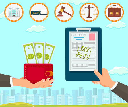 Vector Flat Law Company Maintains Documents Tax Form. Paid Hand with Red Purse Dollar. Court Building Book Constitution Gavel Makes Decision in Favor Accused Scales Portfolio Brown. Help Customers. Illustration