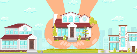 Vector Flat Beautiful Cozy House in Elite Area Good Reliable Building. Apartments Help Purchase Affordable Housing. Hands Cozy Spacious House Many Floors Trees Present Young Family Help State.