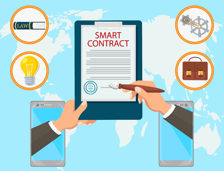 Smart Contract Vector Flat Law Firm. Signing of Contract Online is Sealed. Certified Study on Energy Capacity for Business Technical Innovations Fast Conclusion of Agreement Internet.