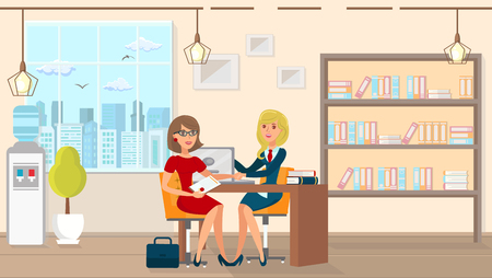 Vector Flat Legal Assistance for Married People. Office Law Firm at Table Sits Lawyer Girl in Business Suit with Tie at Laptop and Advises Beauty Young Woman in Red Dress Sitting Opposite.